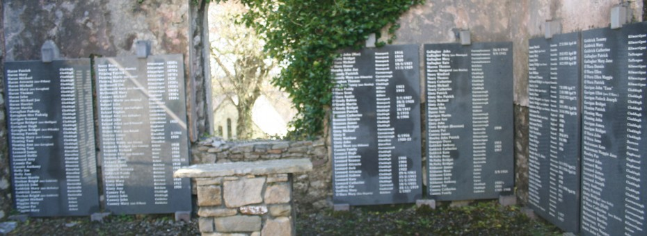 Plaques erected will the names of all the families that where buried in the graveyard.
